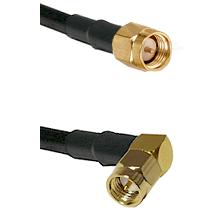 Reverse Thread SMA Male To Right Angle SMA Male Connectors LMR-195-UF UltraFlex Custom Coaxia
