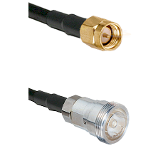 SMA Reverse Thread Male on RG142 to 7/16 Din Female Cable Assembly