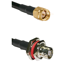 SMA Reverse Thread Male on RG142 to C Female Bulkhead Cable Assembly