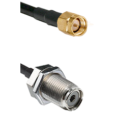 Reverse Thread SMA Male on RG142 to UHF Bulk Head Female Connectors Cable Assembly