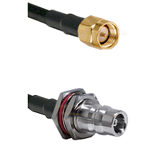 SMA Reverse Thread Male on RG58C/U to QN Female Bulkhead Cable Assembly