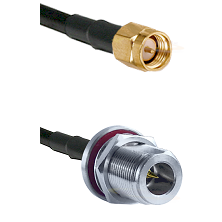 SMA Reverse Thread Male on RG58C/U to N Reverse Polarity Female Bulkhead Cable Assembly