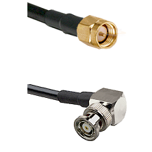 SMA Reverse Thread Male on RG58C/U to BNC Reverse Polarity Right Angle Male Cable Assembly