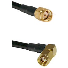 SMA Reverse Thread Male on RG58 to SMA Reverse Polarity Right Angle Male Cable Assembly