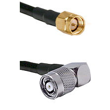 SMA Reverse Thread Male on RG58C/U to TNC Reverse Polarity Right Angle Male Cable Assembly