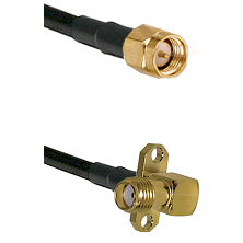 SMA Reverse Thread Male on RG58C/U to SMA 2 Hole Right Angle Female Cable Assembly