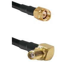 SMA Reverse Thread Male on RG58C/U to SMA Right Angle Female Bulkhead Cable Assembly