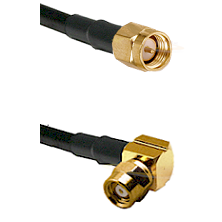 SMA Reverse Thread Male on RG58C/U to SMC Right Angle Female Cable Assembly