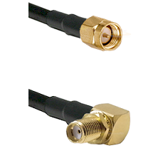 SMA Reverse Thread Male on RG58C/U to SMA Reverse Thread Right Angle Female Bulkhead Coaxial Cable A