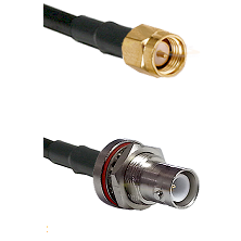 SMA Reverse Thread Male on RG58C/U to SHV Bulkhead Jack Cable Assembly