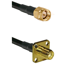 SMA Reverse Thread Male on RG58 to SMA 4 Hole Female Cable Assembly