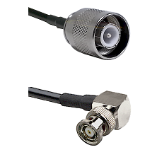 SC Male on RG142 to BNC Reverse Polarity Right Angle Male Cable Assembly