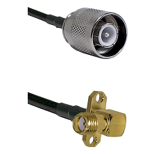 SC Male on RG142 to SMA 2 Hole Right Angle Female Cable Assembly