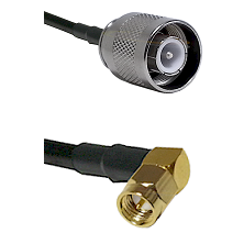 SC Male on RG142 to SMB Right Angle Male Cable Assembly