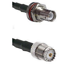 SHV Bulkhead Jack on RG142 to Mini-UHF Female Cable Assembly