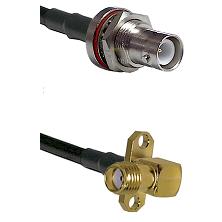 SHV Bulkhead Jack on RG223 to SMA 2 Hole Right Angle Female Cable Assembly