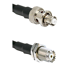 SHV Plug on RG142 to Mini-UHF Female Cable Assembly