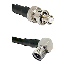 SHV Plug on RG58C/U to Mini-UHF Right Angle Male Cable Assembly