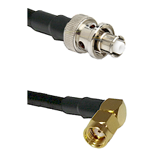 SHV Plug on RG58 to SMA Reverse Polarity Right Angle Male Cable Assembly