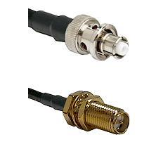 SHV Plug on RG58C/U to SMA Reverse Polarity Female Bulkhead Cable Assembly