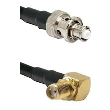 SHV Plug on RG58C/U to SMA Right Angle Female Bulkhead Cable Assembly