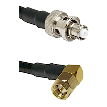 SHV Plug on RG58C/U to SMA Right Angle Male Cable Assembly
