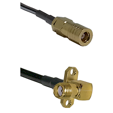 SLB Female on LMR100 to SMA 2 Hole Right Angle Female Cable Assembly