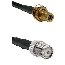 SLB Female Bulkhead on LMR100 to Mini-UHF Female Cable Assembly