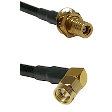 SLB Female Bulkhead on LMR-195-UF UltraFlex to SMA Right Angle Male Cable Assembly