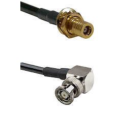 SLB Female Bulkhead on RG142 to BNC Reverse Polarity Right Angle Male Cable Assembly