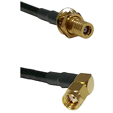 SLB Female Bulkhead on RG142 to SMA Reverse Polarity Right Angle Male Cable Assembly