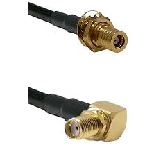 SLB Female Bulkhead on RG142 to SMA Reverse Thread Right Angle Female Bulkhead Coaxial Cable Assembl