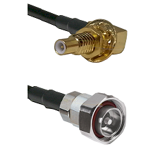 SLB Male Bulkhead on RG142 to 7/16 Din Male Cable Assembly
