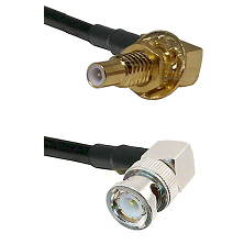 SLB Male Bulkhead on RG58C/U to BNC Right Angle Male Cable Assembly