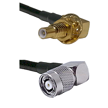 SLB Male Bulkhead on RG58C/U to TNC Reverse Polarity Right Angle Male Cable Assembly
