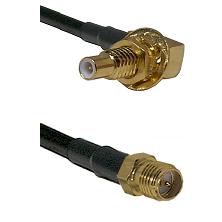SLB Male Bulkhead on RG58C/U to SMA Reverse Polarity Female Cable Assembly