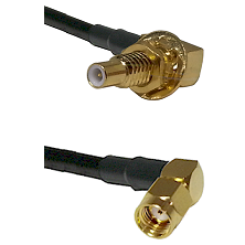 SLB Male Bulkhead on RG58C/U to SMA Reverse Polarity Right Angle Male Cable Assembly