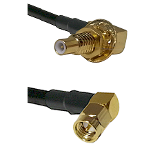 SLB Male Bulkhead on RG58C/U to SMA Right Angle Male Cable Assembly
