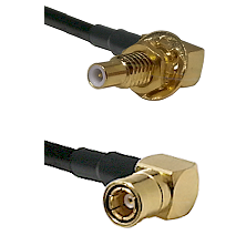 SLB Male Bulkhead on RG58C/U to SMB Right Angle Female Cable Assembly