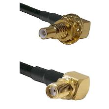SLB Male Bulkhead on RG58 to SMA Reverse Thread Right Angle Female Bulkhead Cable Assembly