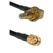 SLB Male Bulkhead on RG58C/U to SMA Reverse Thread Male Cable Assembly