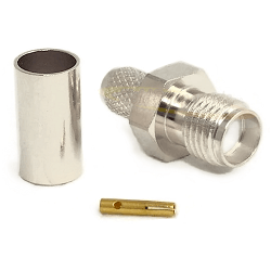 SMA Female Jack Non Captive Contact for RG58, RG141, RG303 Crimp 50ohm DC-12.4GHz Brass Nickel Conne