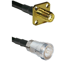 SMA 4 Hole Female on RG142 to 7/16 Din Female Cable Assembly