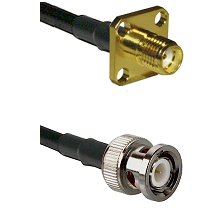 SMA 4 Hole Female on RG142 to BNC Male Cable Assembly