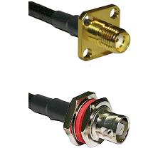 SMA 4 Hole Female on RG142 to C Female Bulkhead Cable Assembly