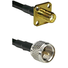 SMA 4 Hole Female on RG142 to Mini-UHF Male Cable Assembly