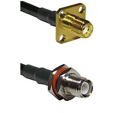 SMA 4 Hole Female on RG142 to TNC Reverse Polarity Female Bulkhead Cable Assembly