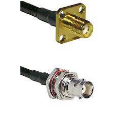 SMA 4 Hole Female on RG58C/U to BNC Female Bulkhead Cable Assembly