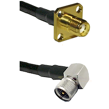 SMA 4 Hole Female on RG58C/U to Mini-UHF Right Angle Male Cable Assembly