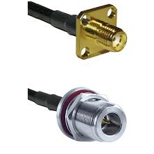 SMA 4 Hole Female on RG58C/U to N Reverse Polarity Female Bulkhead Cable Assembly